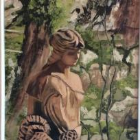David Chalmers, Statue of a Fishergirl, oil on board, 43x38cm, NFS