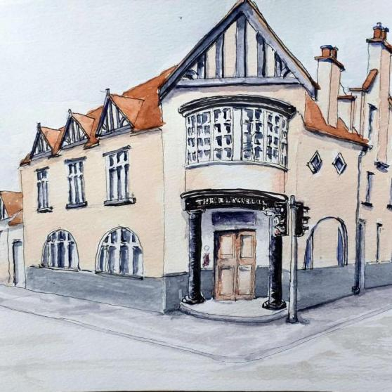 David Morris,  The Black Bull - Dalkeith.  Ink & Watercolour on Paper. NFS