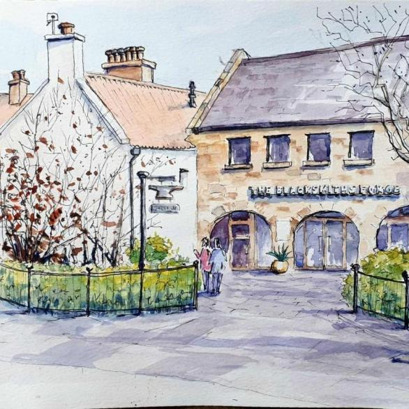 David Morris, The Blacksmiths Forge -Dalkeith. Ink & Watercolour on Paper. NFS