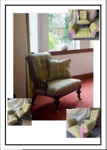 Lillian Stewart, Upholstered Antique Chair & Footstool. Moon Fabric. For Sale. Contact Member
