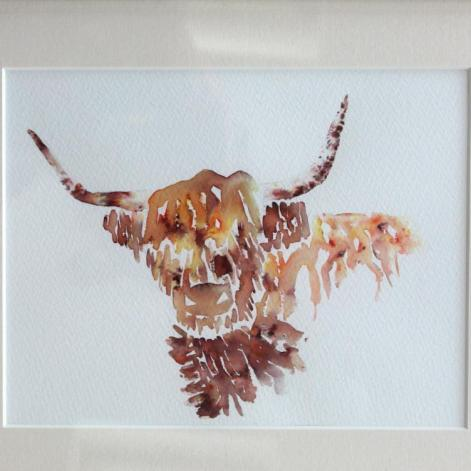 Harriet Dunkerley, Highland Cow,  36x30cm, brusho on watercolour paper, £40
