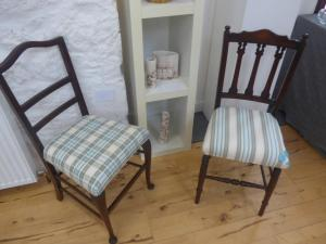 Marie Wills, Blue and Cream Chairs, Upholstery.