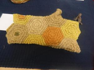 Debbie Zawinski, Walk in the Northumbrian Countryside, Dyed, spun, knitted fleece