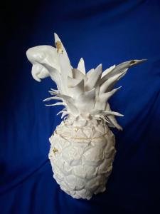 Jane Mill-Irving,  Parrot in pineapple. Glazed ceramic with gold leaf 35cm x 20cm.  NFS