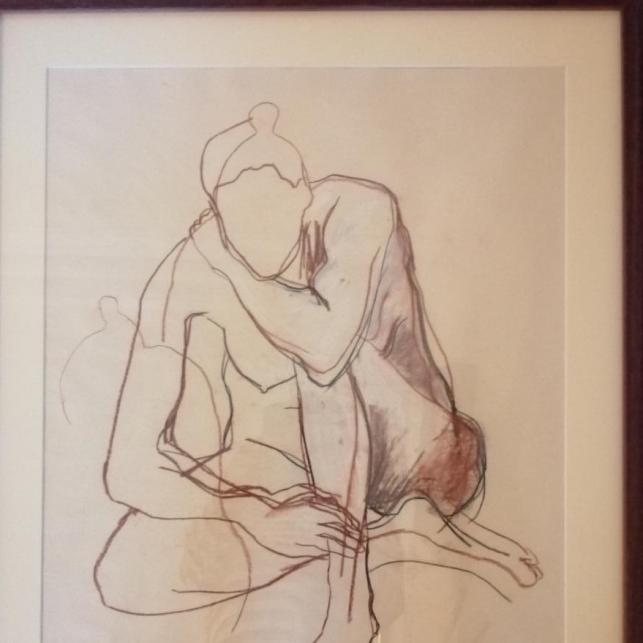 Shelly Campbell, Nude Study charcoal and chalk on paper. Size: 56 x 67.5cm including frame.  43.5cm x 54cm excluding framePrice : £135 including frame