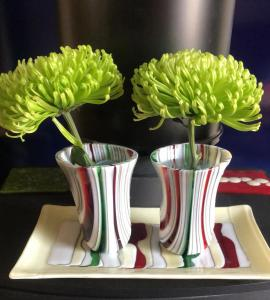 Janet Imrie.  Two striped vases. Fused glass, 20cm x 12cm x 8 cm. NFS