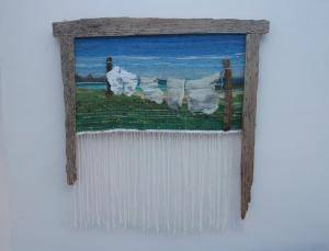 Angela Fotheringham,  Ellie's Washing Line, hand spun, dyed & woven wool and driftwood, £375